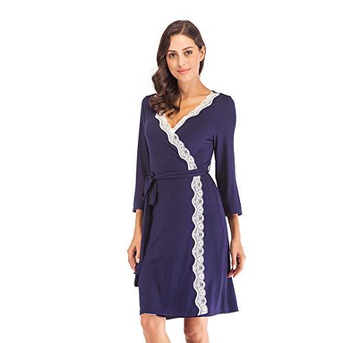 Mini Balabala Morgenmantel Langarm Kimono Damen Nachthemd Nachtwäsche Pyjama Modale saunamante Sommer Bademantel XL Navy Blau(spitzenbesatz) -
