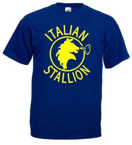 world-of-shirt Italian Stallion Herren T-Shirt Trikot|navy XXL