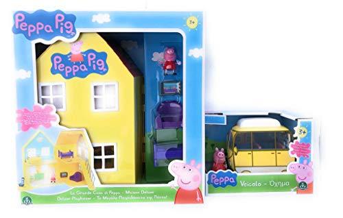 Peppa pig la grande casa deluxe+ mini camper peppa pig set completo - giochi preziosi ppc38000
