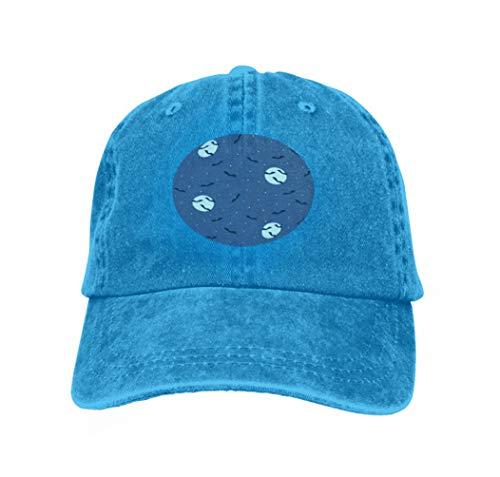 Adjustable Cotton Hat Fashion Cotton Denim Baseball Cap Halloween Bats Night Sky Creepy Scene Flying Moon Stars desi Blue