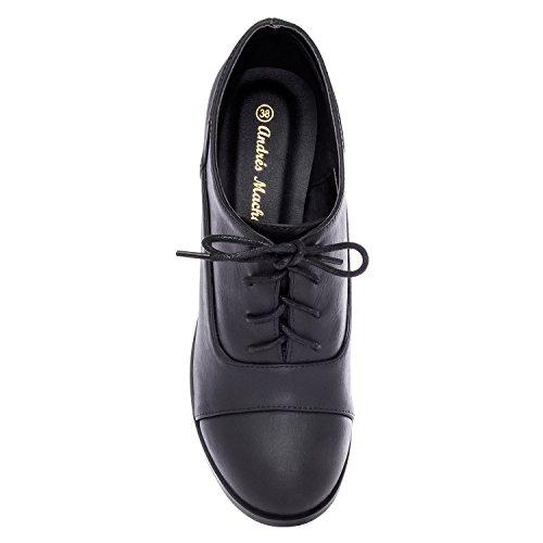 Andres Machado.AM5104.Chaussures style Oxford en Soft.Petites et Grandes pointures.32-35-42/45. Pour Femmes. Noir