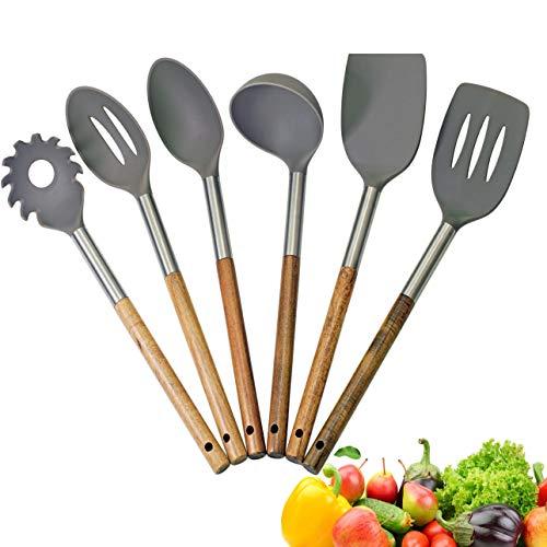 SCUR Küchenhelfer Set, Holzgriff, Edelstahlhals, 10 vegetarische Rezepte eBook GRATIS, hochwertig, hitzebeständig, Spaghettilöffel, Pfannenwender, 6-teilig, kein zerkratzen