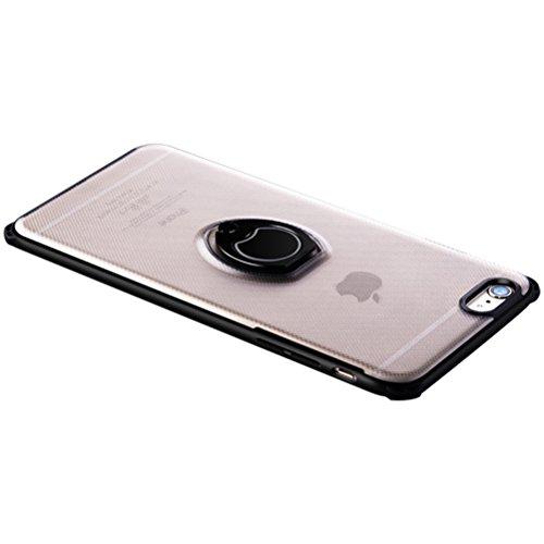 Zeattain iPhone 7/8 Plus Hülle, [Carbon Fiber Look] Schutzhülle mit Ringhalter, aus Hart PC und Weichem Silikon TPU, Rutschfest Ultradünn Stoßfest Kratzfest Case für iPhone 7 Plus/8 Plus, Klar