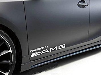 stickerbuy 2Pcs Powered By Amg Window Vinyl Decal Car Sticker (White)
