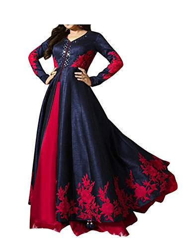 Impression Fab Women's Banglori Silk Semi Stitched Anarkali Frock Suit Gown(Blue_Red Anarkali_Free Size)