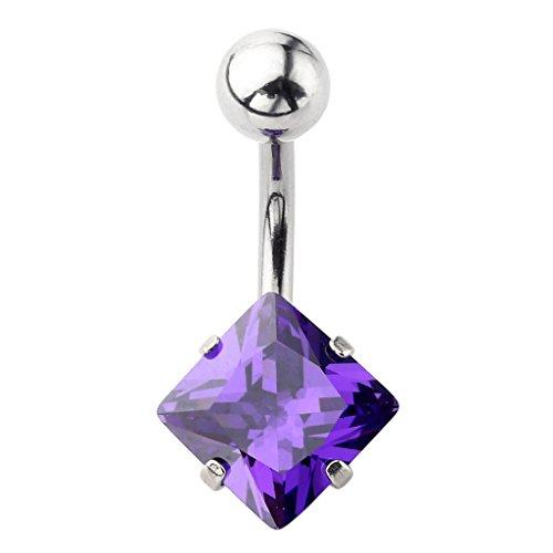 JSDDE Piercing de Nombril - Acier Inoxydable Chirurgical - Tige en 1.6mm x 12mm, Cristal CZ Carre Transparent de 8mm Violet