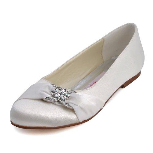 Bequeme flache Brautschuhe Ballerinas | Ivory