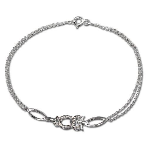 SilberDream Armschmuck 19cm silber weiß Damen-Armband Eule 925 Silber SDA424W - Eulen Grenze