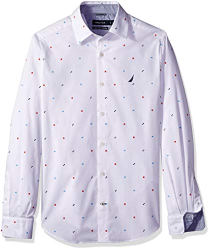 Nautica Herren Signal Flag Classic Fit Shirt Button Down Hemd, Bright White, Klein - Nautica White Shirt