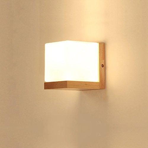 KUN PENG SHOP Lampe de chevet de couleur bois minimaliste moderne, salon, chambre, étude, allée, lambris en bois massif A+