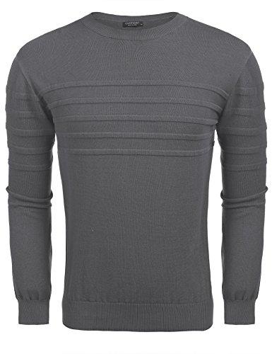 Coofandy Pullover Herren Langarm Crew Kragen Einfarbig Gestreift Feine Strick Sweatshirt für Winter Grau