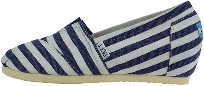 Zapatos de tela _ pendiente con zapatos de tela alumnas mayores de fondo plano superficial en la boca, con rayas...