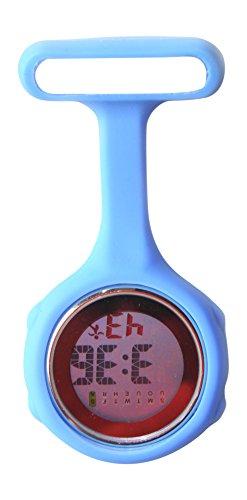 Ellemka JCM-330 - Digitale Schwesternuhr Clip zum Anstecken FOB Kittel Silikon Krankenschwester Pflege-r Quarz Puls-Uhr Taschen Ansteck-Nadel Fashion Trend Design Farbe Blue Sky – OVP