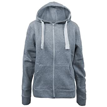 Ladies Plain Hoodie Light Grey Size 14