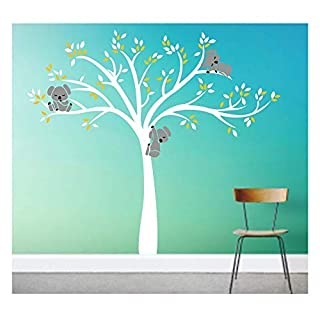 BDECOLL Koala on Tree Nursery Wall Stickers - 3 Koalas tree Branches Wall Decal Wall Sticker Baby Nursery Decor Kids Room