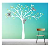 Bdecoll Stickers muraux,Grand Arbre Mignonne Koalas Sticker mural pour bébé chambre décoration/autocollant bricolage pour les enfants (Yellow)
