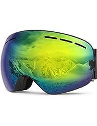 Gafas de Esquí, Suplyss Gafas de Snowboard Antivaho, Gafas de Nieve Frameless de Doble Lente, 100% UV Protección Gafas de Sol de Skate Esférico Amplio Campo de Visión para Moto de Nieve Snowmobile (Dorado)