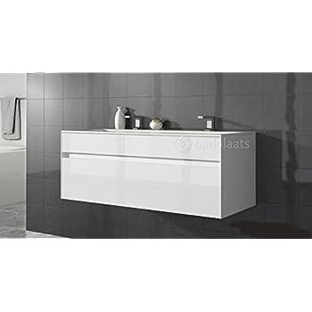 Badezimmer Badmöbel Lyon 120 cm Hochglanz Weiß