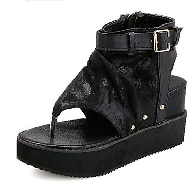 LvYuan Damen-Sandalen-Lässig-Stoff-Keilabsatz-Andere-Schwarz Silber Black