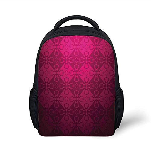 Maroon-design (Kids School Backpack Magenta Decor,Ornamental Dated Feminine Rectangular Forms Background Damask Past Design,Maroon Fuchsia Plain Bookbag Travel Daypack)