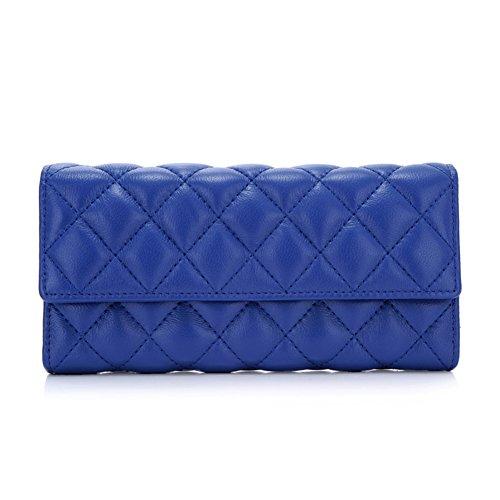 Diamond Plaid blue Lady long porte-monnaie/ grande capacité 30 % Velcro wallet-A A