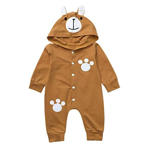 bobo4818 Säuglingsbaby Lange Ärmel Karikatur Bärendruck Hoodie Strampler Overall Kleider (12-18 Months, Brown)