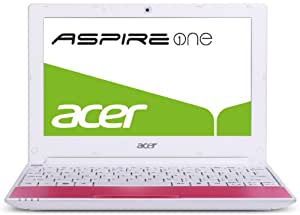 Acer Aspire One Happy Series 25,6 cm (10,1 Zoll) Netbook (Intel Atom Dual Core N550, 1,5GHz, 1GB RAM, 250GB HDD, Intel GMA3150, Bluetooth, Win 7 Starter / Android) pink