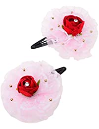 Monalisa Enterprise Hair Clip(Tic-tic Pin) With Beautiful Fabric Flower & Metal Clip(Pack Of 2, ME_043)