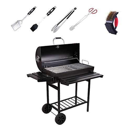 Aczz griglia del carbone di legna grill_thicken smoker griglia per barbecue con griglia elettrica girevole staffa griglia su ruote per picnic all'aperto giardino nero,nero,a