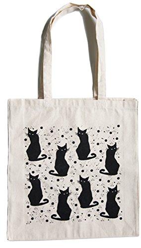 Stofftasche Baumwolle schwarze Katzen Stoffbeutel Katze