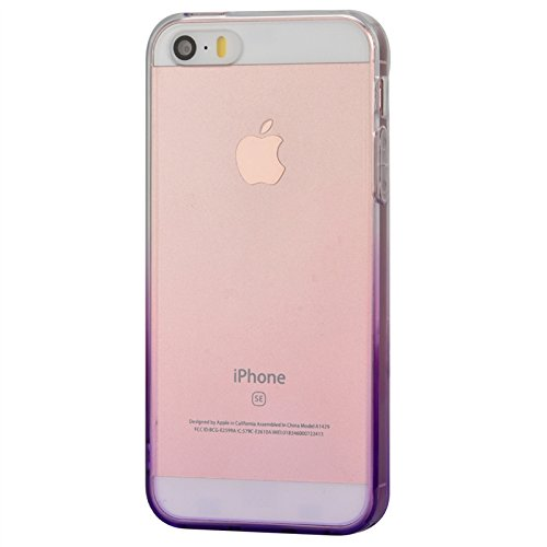 iPhone 5 / 5s / SE Hülle, Yokata Durchsichtig Gradient Weich Jelly Weich Silikon Gel Case Ultra Slim Cover Schutzhülle Sehr Dünn Handyhülle + 1 x Kapazitive Feder Lila