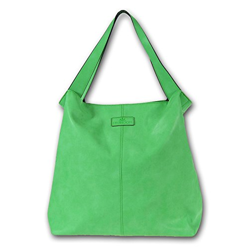 Miya Bloom Shopper Ima XL sac à main en cuir vert Overnighter 40x41x15 cm libre (LxHxP)