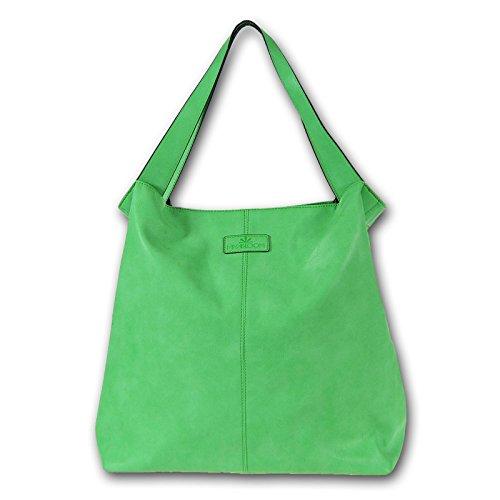 MIYA BLOOM Shopper Ima XL sac à main en cuir vert Overnighter 40x41x15 cm libre (LxHxP)