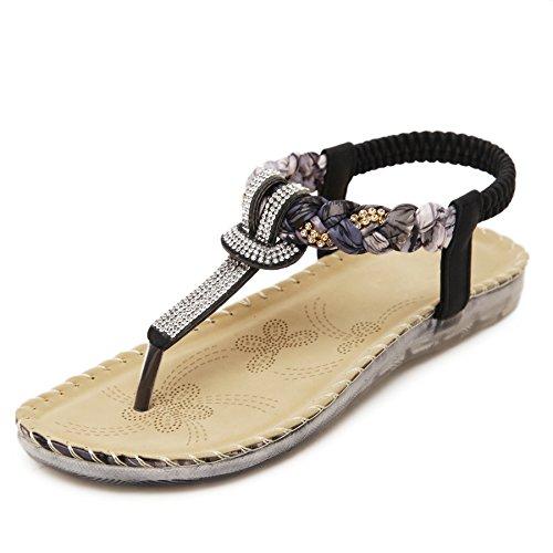 YE Damen Flach T-Spangen Riemchen Sandalen mit Glitzer Strass Sommer Schuhe Schwarz