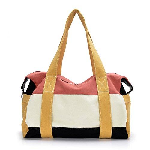 Il borsone sportivo da 2, per un viaggio con la famiglia, ad alta capacità, da viaggio, borsa per 3-5 giorni di alta qualità da viaggio Messenger-Borsa in tela, multiuso, Borsa A spalla (bianco)