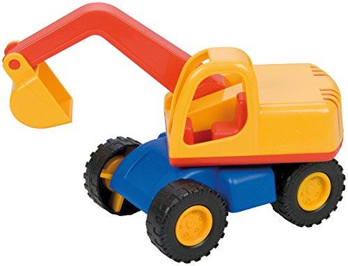 Lena 01229 - Mini Compact Bagger, Baustellen Fahrzeug ca. 12 cm lang, kleines Spielfahrzeug Schaufelbagger für Kinder ab 2 Jahre, robustes Baggerfahrzeug für  Sandkasten, Strand und Kinderzimmer