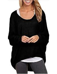 Ninimour Damen Lose Asymmetrisch Jumper Sweatshirt Pullover Bluse Oberteile Oversize Tops