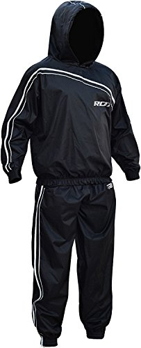 RDX Sauna Schwitzanzug Sweatanzug Saunaanzüge Trainingsanzug Fitnessanzug Schweiß Anzug Schweissanzug, Gr. L, Farbe: Schwarz