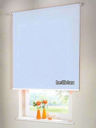 Sichtschutzrollo Mittelzugrollo Springrollo Rollo Verdunkelung 162 x 120 cm / 162x120 cm hellblau