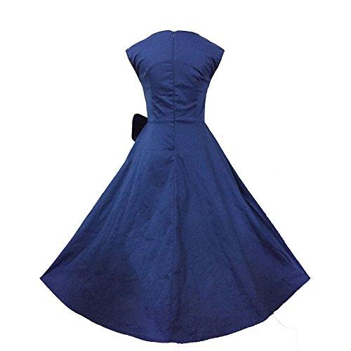 Pinkyee Damen A-Linie Kleid Blau