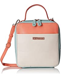 Caprese Norma Women's Sling Bag (Peach, Off-White And Blue)