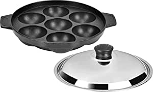 Tosaa Non Stick 7 Cavity Appam Patra with Lid, 17cm,Silver/Black