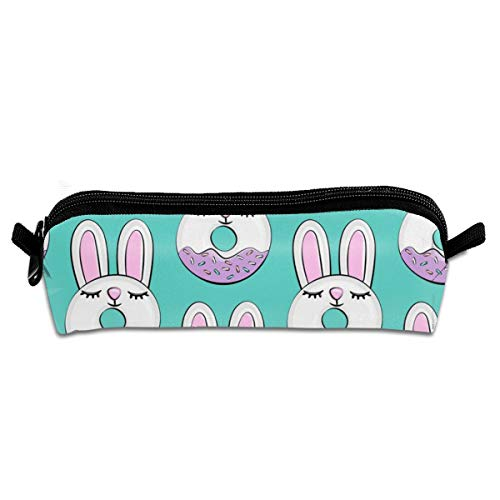 Bunny Donuts With Sprinkles Easter Donuts Teal Pencil Case Zipper Canvas Pen Pouch Bag for Girls Kids Teens Women 8.26 X 2.16 X 1.96 inch