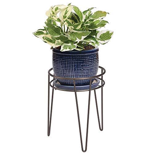 mDesign Midcentury Pflanzenständer für Blumen, Sukkulenten aus Metall - runder Blumenständer im modernen Design - platzsparende vielseitig nutzbare Blumensäule für drinnen und draußen - bronzefarben