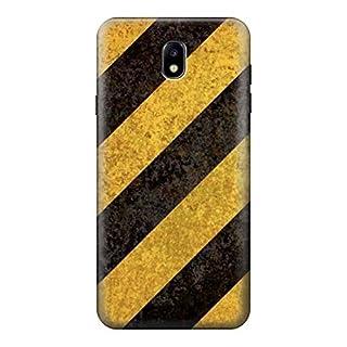 Yellow and Black Line Hazard Striped Case Cover For Samsung Galaxy J7 (2018), J7 Aero, J7 Top, J7 Aura, J7 Crown, J7 Refine, J7 Eon, J7 V 2nd Gen, J7 Star