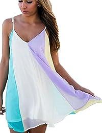 JOTHIN Damen Deep V-ausschnitt Chiffon Harness Kleid Kurz Kleider  Strandkleider-Form Shirt S M L 34e7fc2dc1