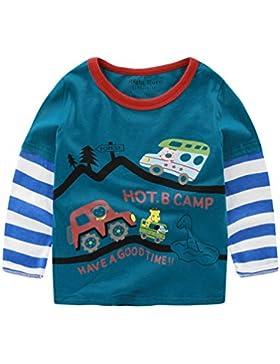 Happy Cherry Jungen Kids Langarmshirt, Lange Ärmel Shirt für Fühling und Herbst (für Körpergröße 90-130cm) - Gelb...