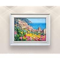 Positano Original Italy Painting on Canvas Amalfi Coast Seascape Wall Art Home Decor Gift