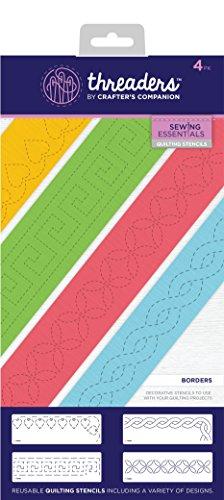 Threaders Einfädler Quilting Schablonen–Grenzen, transparent, 4-teilig (Quilting Stencil-design)