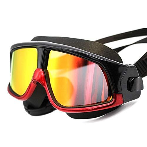 Duhongmei123 Mode Brillen Erwachsene Männer Frauen Jugend Schwimmbrille Spiegel Schwimmbrille Anti Fog Mit UV-Schutz Kein Auslaufen Für Occhiali (Color : Rot, Size : Kostenlos)